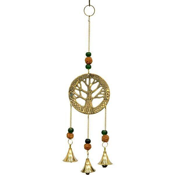 Tree of Life Brass w/Rudraksha Windchime - 11 1/2