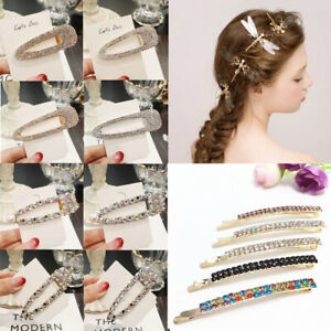 Crystal-Pearl-Diamond-Hairpin-Hair-Clip-Snap-Barrette-Stick-Women-Hair-Jewelry