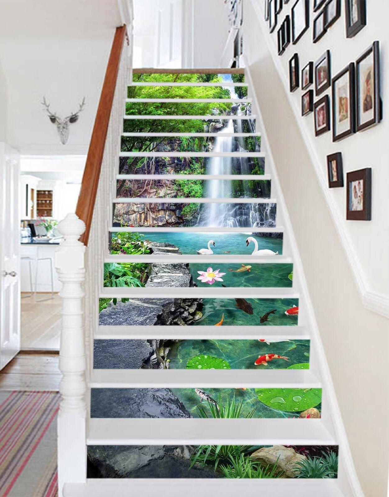 3D Lotus Sawn Lake Stair Risers Decoration Photo Mural Vinyl Decal Wallpaper UK