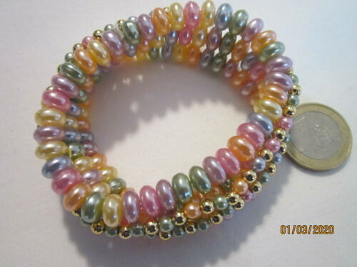 Armband pastell Perlen und kleine goldfarbene Perlen Gummizug