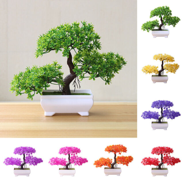 Artificial Fake Potted Pine Tree Flower Plants Bonsai Outdoor Indoor Home Decor