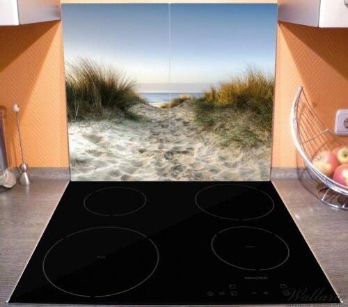 Herdabdeckplatte 2-teilig aus Glas Weg durch Dünen Strand Meer Sand 60x52cm