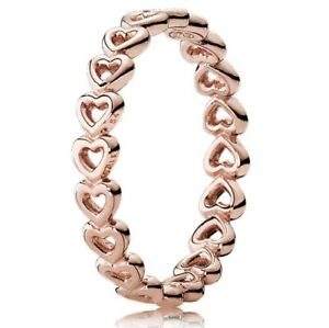 New-PANDORA-Rose-Gold-Linked-Love-Hearts-Stackable-Ring-with-BOX-180177