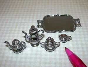 Miniature-5-Piece-Silver-Tea-Set-with-Tray-DOLLHOUSE-1-12