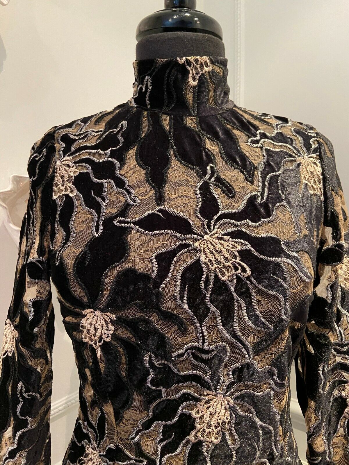 BEAUFILLE Embroidered Burnout Velvet and Lace Lon… - image 4