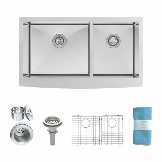 review zuhne turin 36 farmhouse apron 60 40 deep double bowl rh ebay com Stainless Steel Undermount Double Sink Stainless Steel Double Bowl Kitchen Sink Dimension