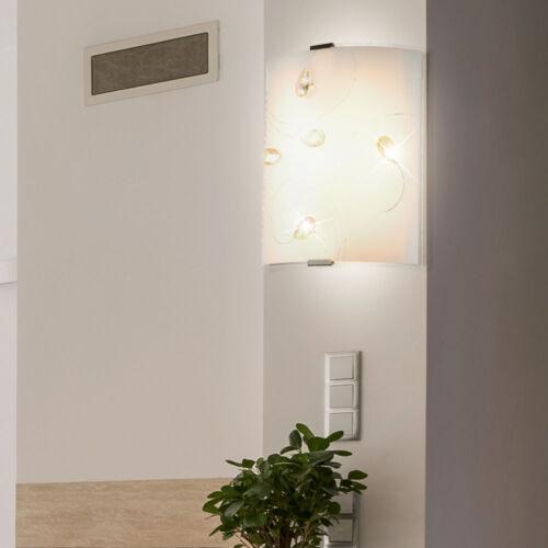 LED Glas Wand Leuchte satiniert Treppenhaus Beleuchtung Kristalle amber Lampe