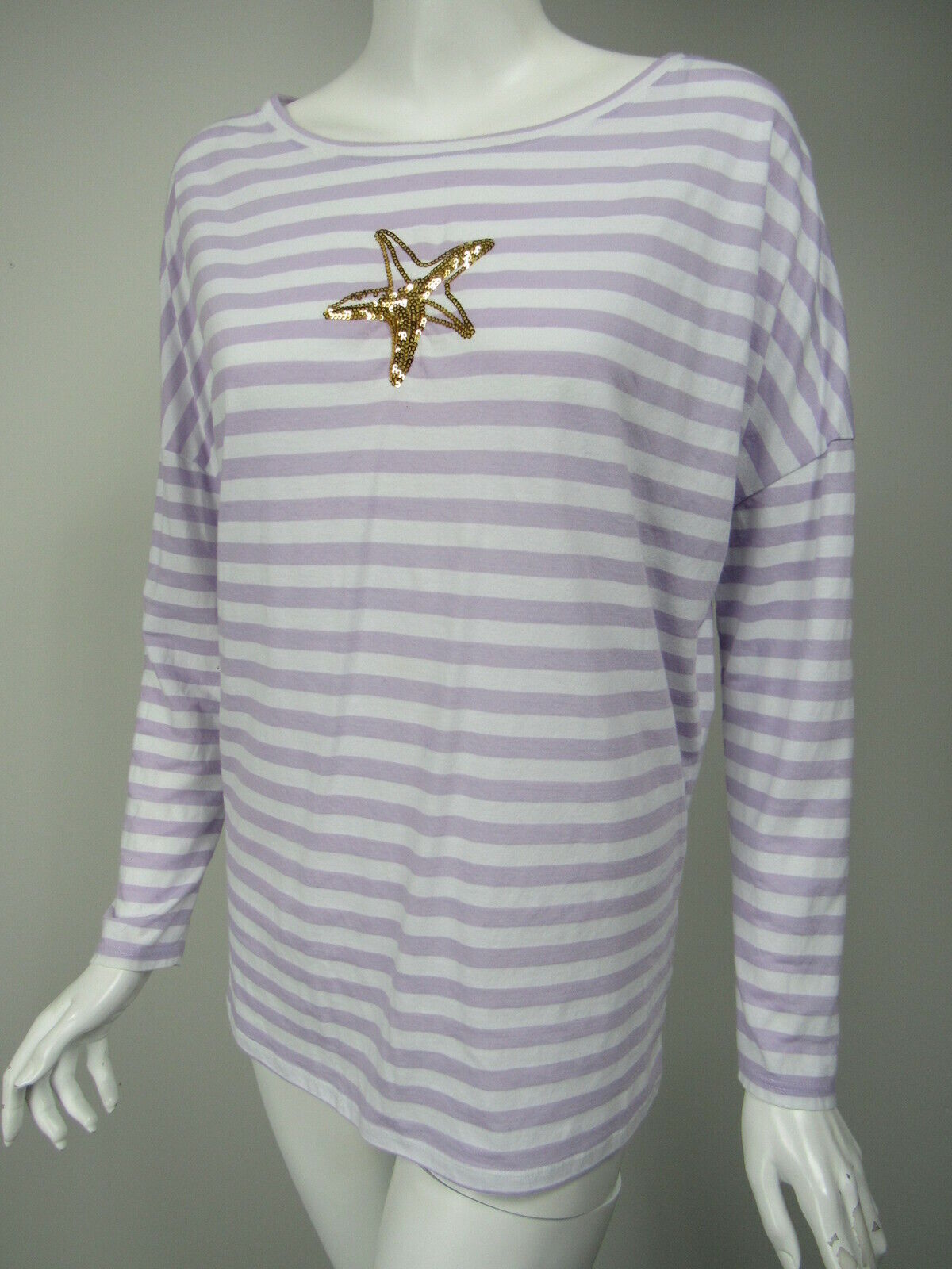 LILLY PULITZER Lilac Weiß Stripe Cotton Sequin Starfish Dolman Sleeve Hemd M