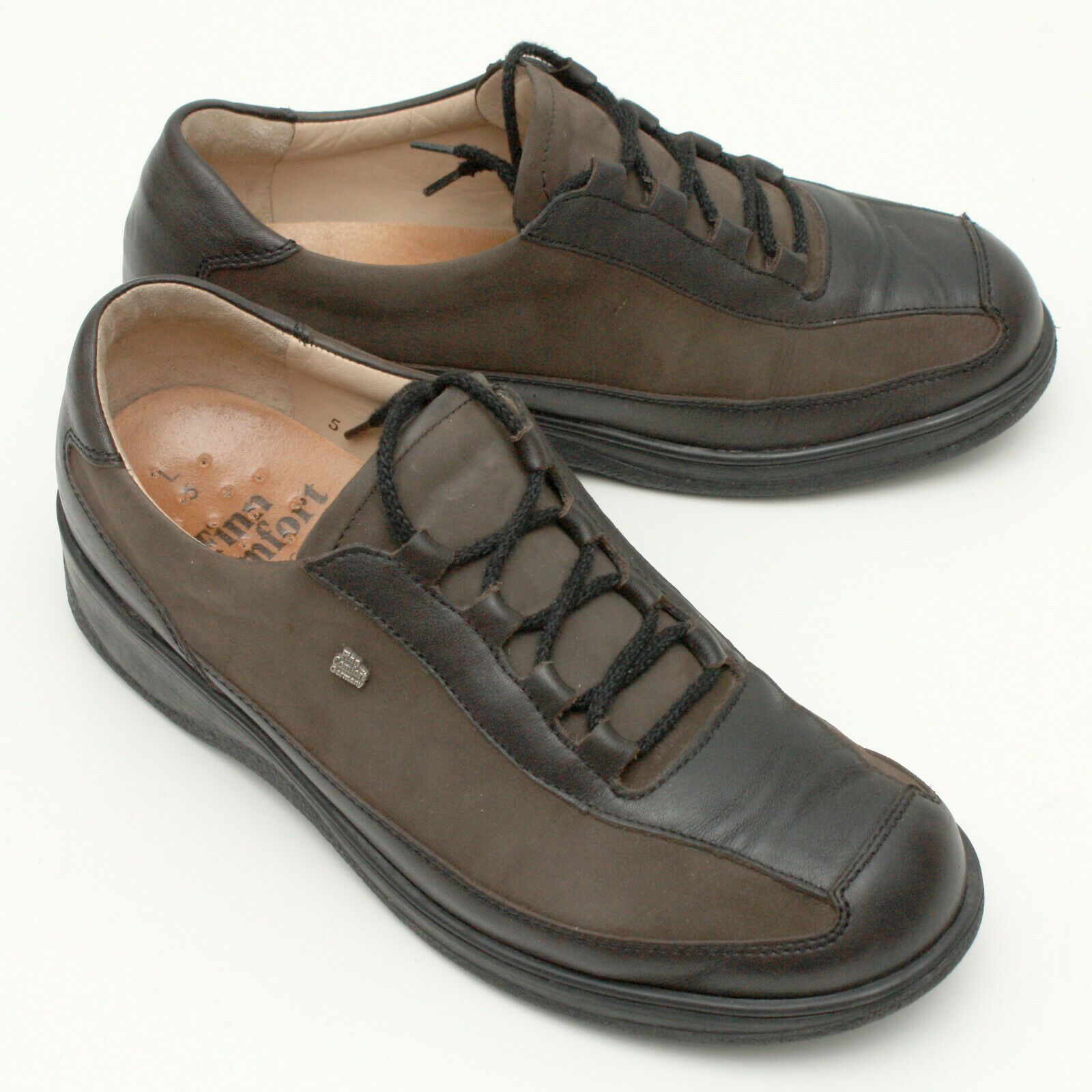 Finn Comfort Women's Casual Oxfords Shoes Brown Leather/Dark Olive Nubuck UK 5
