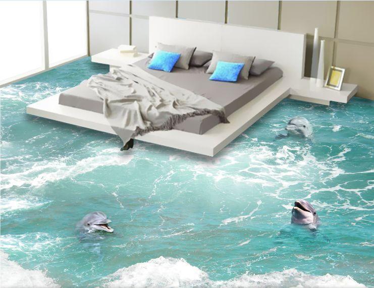 3D Playful Dolphin Sea Floor WallPaper Murals Wall Print Decal 5D AJ WALLPAPER