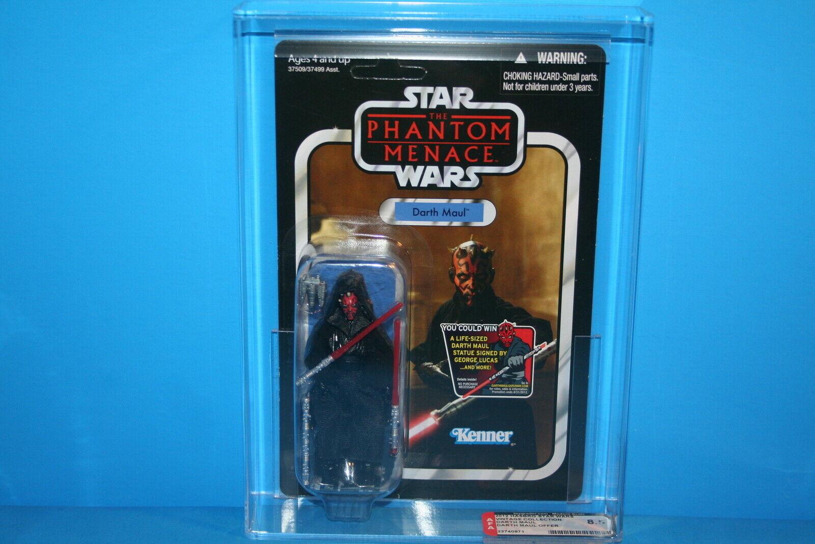 STAR WARS AFA GRADED 2012 TVC MINT ON CARD FIGURE MAUL  86 HASBRO 8.5