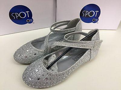 Niñas Diamante Plana Zapato Formal Ideal para boda/fiesta/Ocasiones Especiales-Nuevo