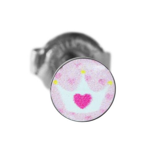 1 Paar Erstohrstecker Chirurgenstahl Medizinische Ohrringe mit Herz-Krone