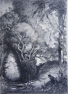LEPERE-AUGUSTE-1849-1918-Lithographie-034-La-ravine-en-juin-034-Tiree-SAGOT