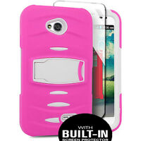 Hybrid Case Cover Skin Rubber For Lg Ultimate 2 Straight Talk/tracfone Lg L41c