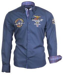Hemd-Herrenhemd-Herren-Hemden-Shirt-bestickt-Stickerei-82105-blau-Binder-de-Luxe
