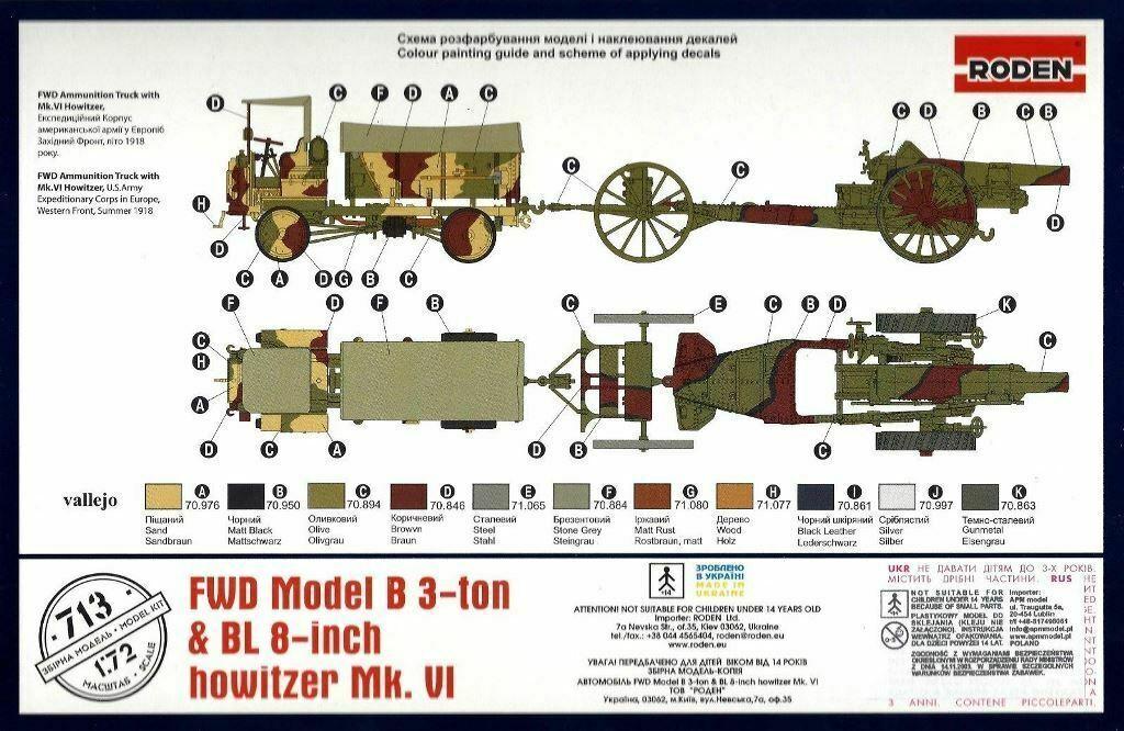 Roden FWD Model B 3-ton /& BL 8-inch Howitzer Mk VI Bausatz Kit 1:72 Kit Art 713