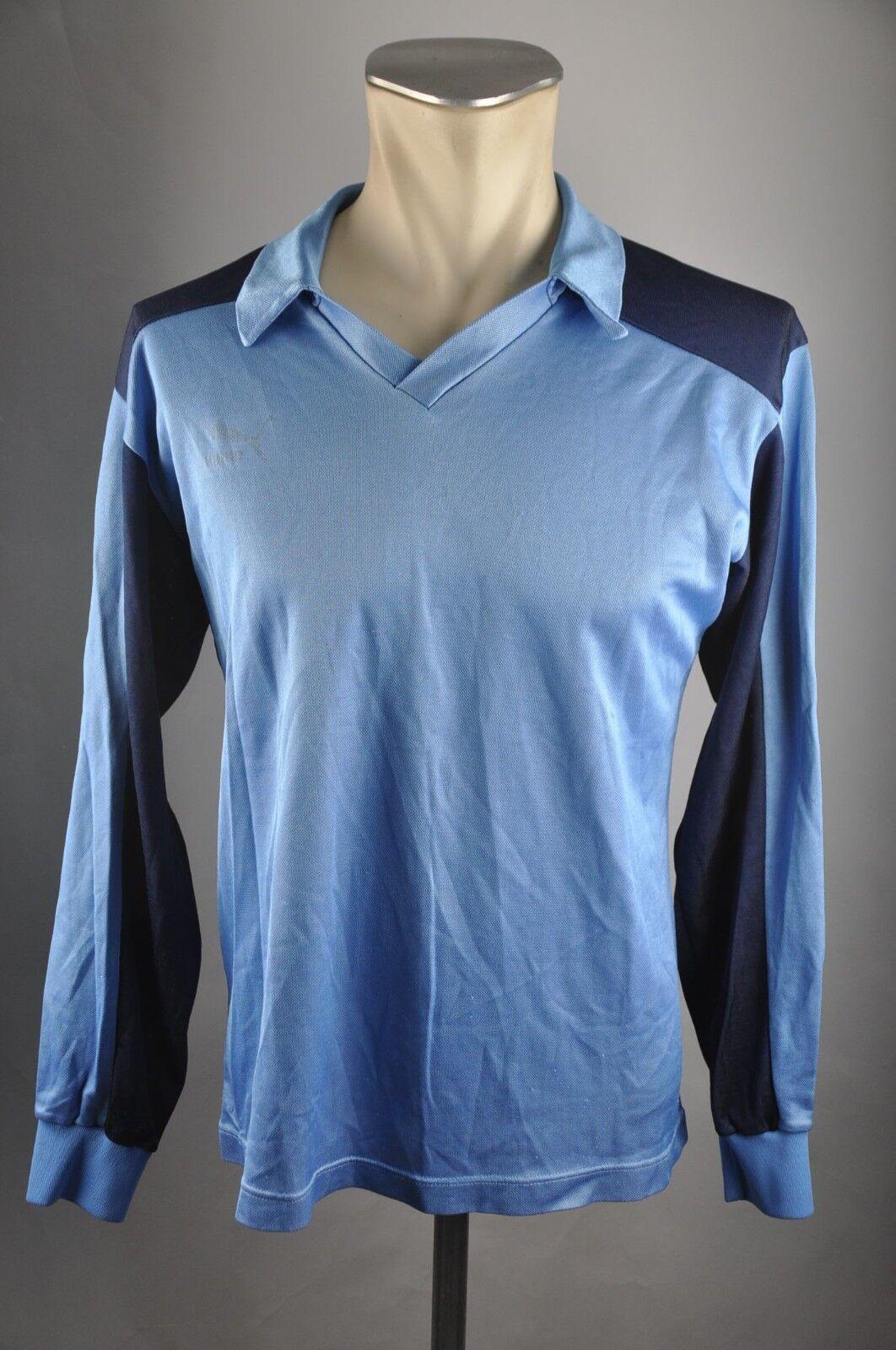 Puma vintage Trikot 80er oldschool Shirt blau Gr. LS Gr. blau M jersey 80s VG1 cbb1bb