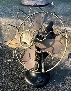 """ANTIQUE 12"""" R&M ROBBINS AND MYERS FEATHER VANE BRASS BLADE ELECTRIC FAN"""