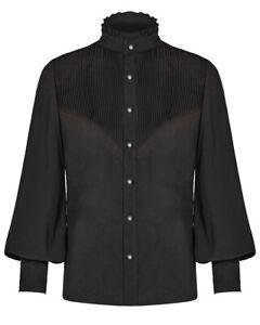 Punk-Rave-Top-Camisa-para-hombre-poeta-Steampunk-Negro-Plisado-Vintage-Estilo-Victoriano-Gotico