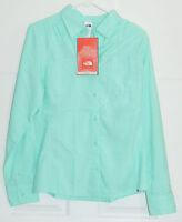 The North Face Cool Horizon Button Down Shirt Women's Large Beach Glass Green
