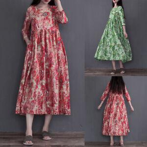 Belle-Femme-Casuel-en-vrac-DeManche-Imprime-floral-Plage-Vacances-Robe-Plus