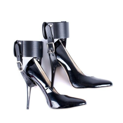 Locking Leather Ankle Belts Restraint cuffs Fixed to High Heels Shoes straps