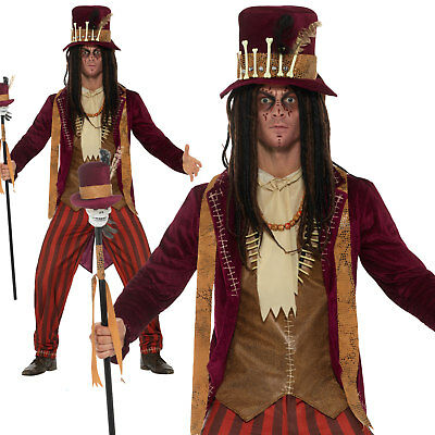 Mens Witch Doctor Costume Adult Voodoo Halloween Horror Fancy Dress Party Outfit