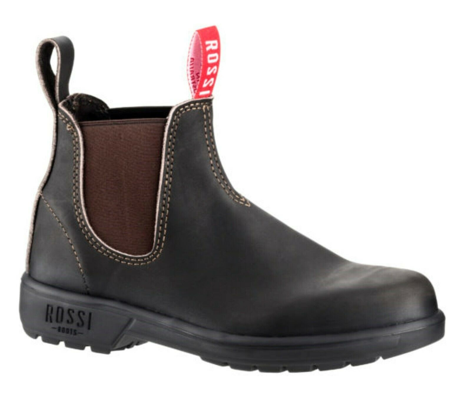 ROSSI BOOTS Endura Claret Brown Leather Dealer Classic Chelsea Boots Australia