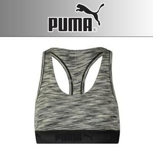 Details about Puma Space Dye Racer Back Sports Bra Black
