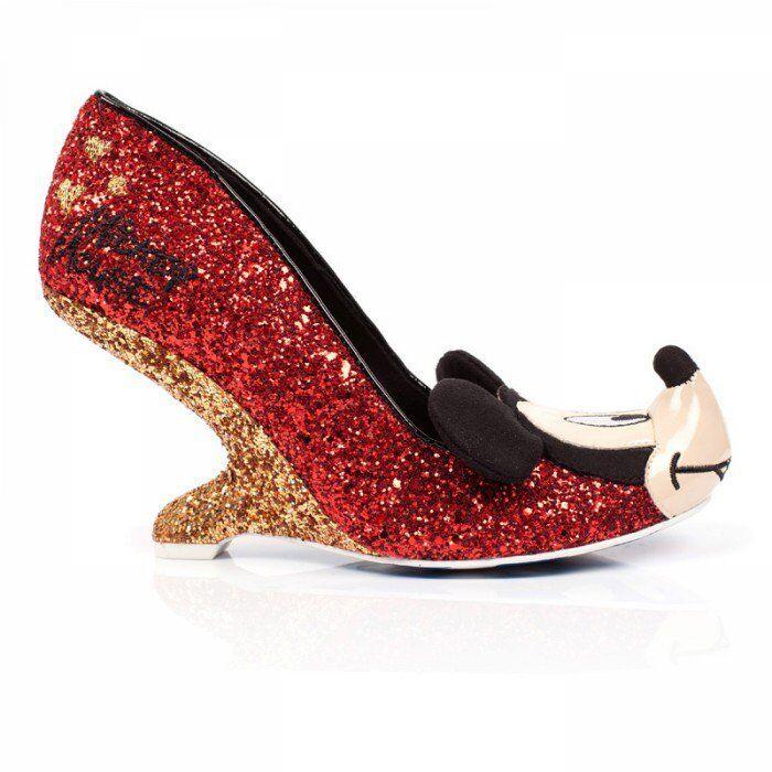 Irregular Choice Mickey e Freinds Oh Boy rosso e gold sparkle
