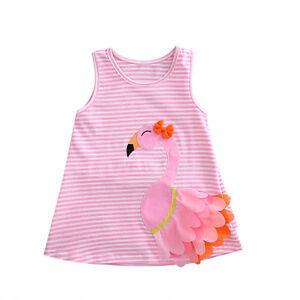 3D Swan Baby Girl Toddler Sleeveless Pink Stripes Tunika Dress Kids Clothes 0-4T