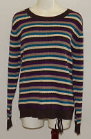 Classic Elements Women's Sweater Knit Top Drawstring Waist Striped Size Xl