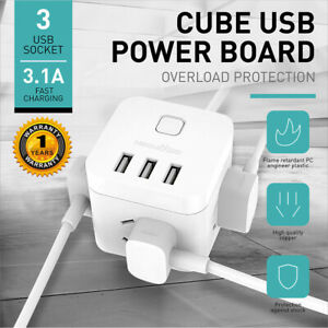 Powercube 4 Socket Power Board 15m Extension Cordusb Chargerau Ebay