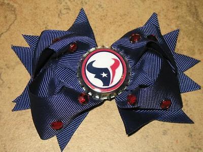 "NEW ""HOUSTON TEXANS"" Pro Football Girls Ribbon Hair Bow Rhinestone Clip NFL"