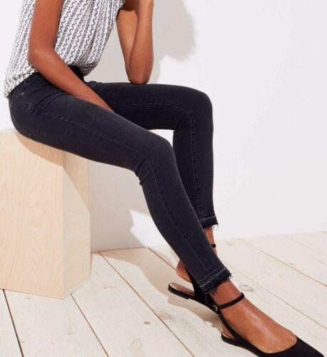 25P Ann Taylor LOFT Modern Front Seam Unpicked Skinny Jeans in Washed Black 24P