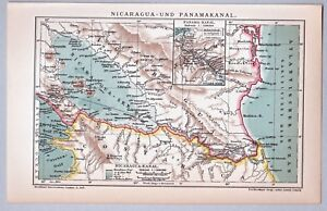 Alte-Karte-Nicaragua-und-Panamakanal-Lithographie-1904