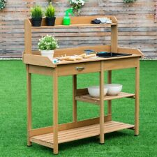 Garden Wood Planting Potting Bench Table With Shelves Flower Cabinet  Storage US