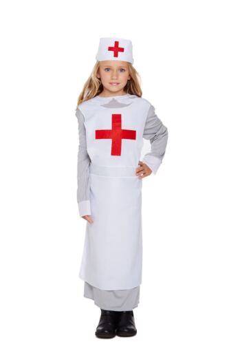 KIDS WW1 NURSE GIRLS DRESSING UP OUTFIT FIRST WORLD WAR FANCY DRESS COSTUME 4-12