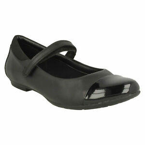 Girls Clarks Tizz Talk Black Leather Mary Jane Strap School Shoes