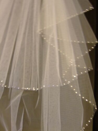 Abridal voile #Wedding voile 2 T épaule-Sol Brillant Voile Perle Crystal Edge