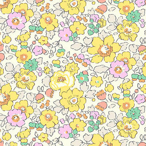 Liberty betsy w yellow tana lawn fabric quilting for Yellow nursery fabric