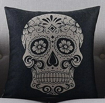 Vintage Cotton Linen Cushion Cover Pillow Case Colorful Black White Skull