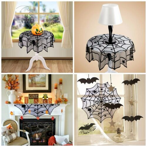 Halloween Black Round Lace Spider Web Tablecloth Table Toppe