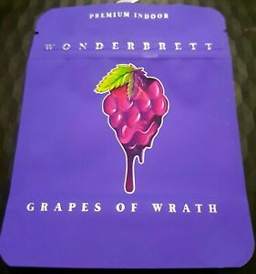 x10 Wonderbrett Grapes Of Wrath 3.5g Direct Print Mylar Bags Heat Sealable