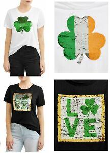 Women-039-s-Reversible-Sequin-Luck-Juniors-Tee-Irish-Graphic-T-Shirt-Love-Shamrock