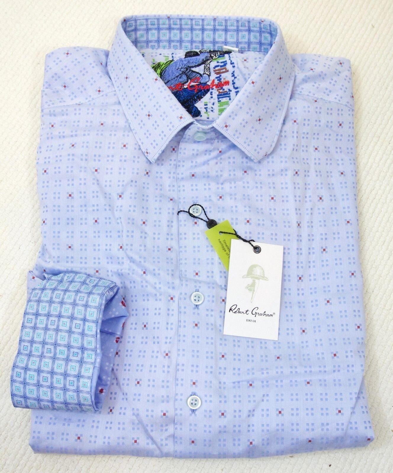 New Robert Graham Men's Woven Classic Fit Sport Shirt Contrast bluee 2XL XXL