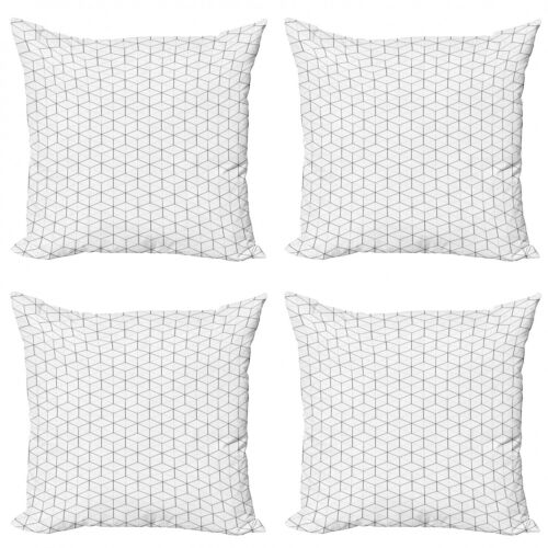 Ambesonne Geometric Design Cushion Cover Set of 4 for Couch and Bed in 4 Sizes