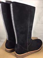 Ugg Rue Knee High Suede Zipper Boots 1012546 Black Women's Suede Shearling