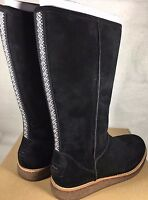 Ugg Rue Knee High Suede Zipper Boots 1012546 Black Women's Suede Shearling